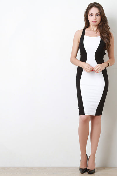 Lace Up Open Back Mod Bodycon Dress