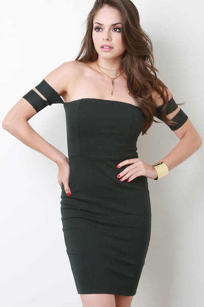 Off The Shoulder Double Band Sleeve Bodycon Dress