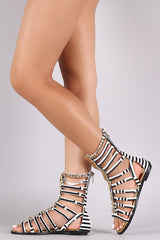 Strappy Chained Stripe Gladiator Flat Sandal