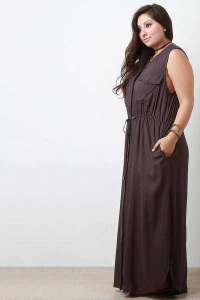Button-Up Double Pocket Maxi Dress