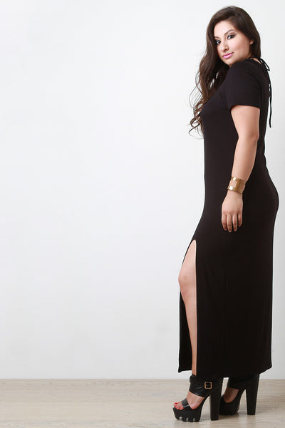 Deep V Lace Up Maxi Dress