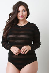 Mesh Striped Long Sleeve Bodysuit
