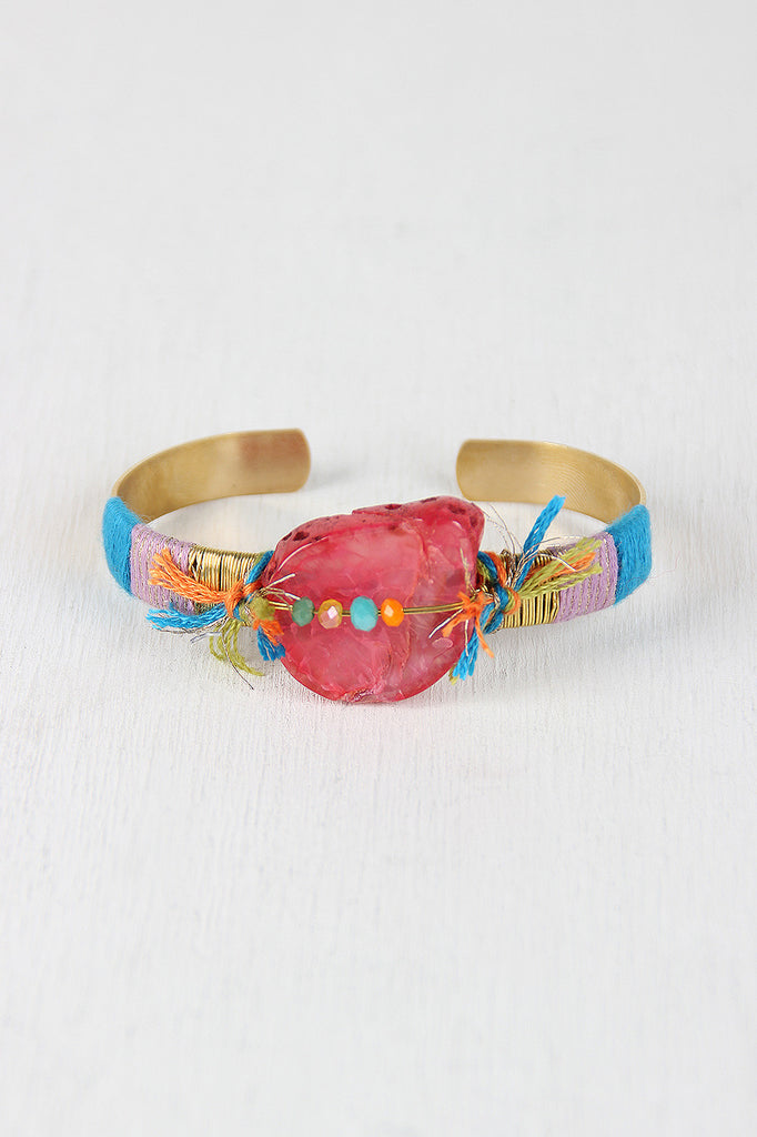 Colorful String And Stone Cuff Bracelet