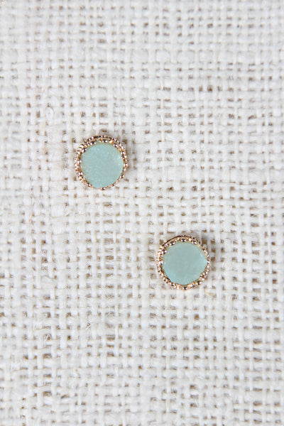 Raw Cut Circle Stud Earring