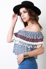 Boho Crochet Lace Trim Off The Shoulder Crop Top