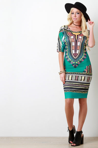 African Tribe-Inspired Elbow Sleeve Midi Dress - JDI Threads