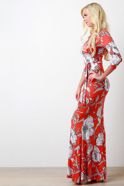Floral and Leaves Surplice Maxi Dress