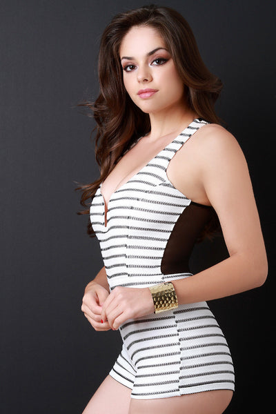 Textured Knit Stripe Mesh Wired Neck Romper