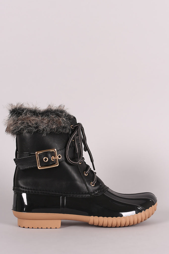 Faux Fur Cuff Lace Up Duck Ankle Boots