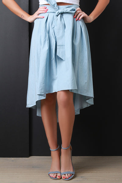 Self Tie Chambray High Low Hem Circle Skirt