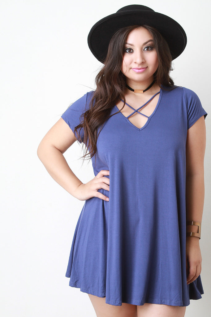 Cross Strap V Neck Tee Shirt Dress