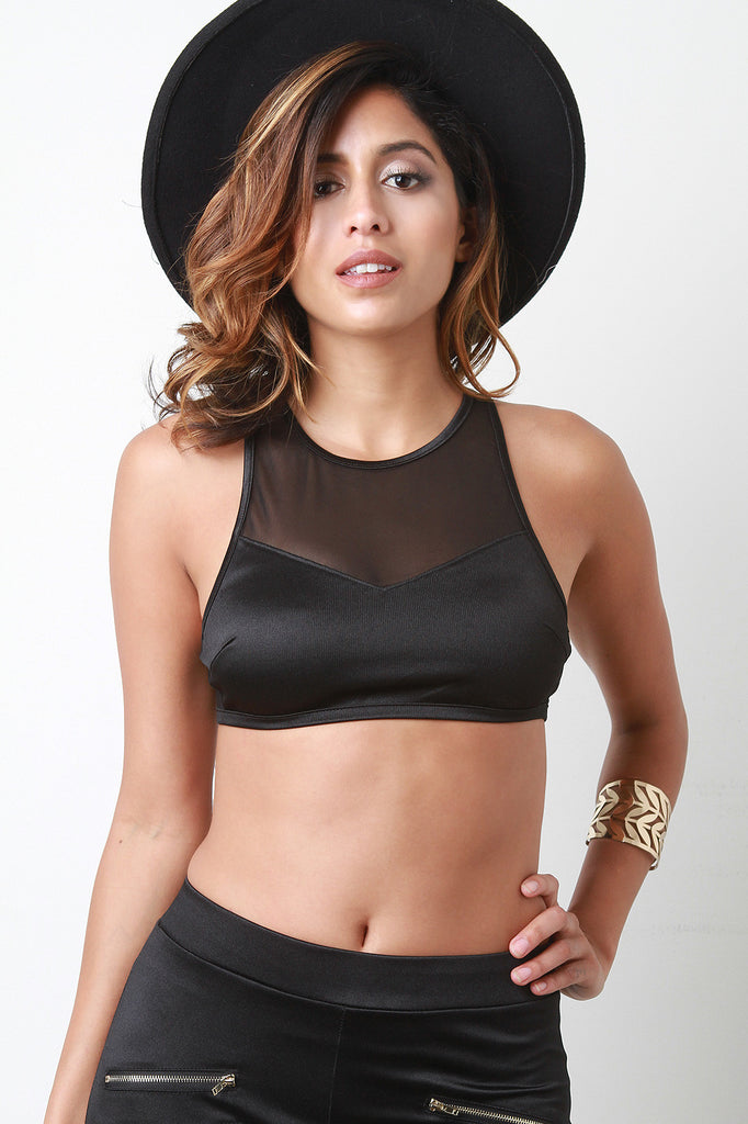 Athleisure Sheer Racerback Crop Top - JDI Threads