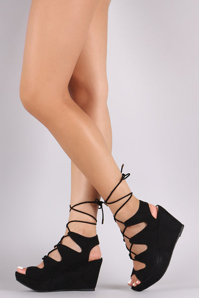 Bamboo Suede Lace-Up Platform Wedge