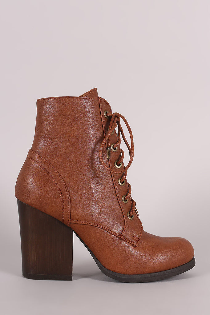Bamboo Chunky Heeled Combat Lace-Up Ankle Boots - JDI Threads