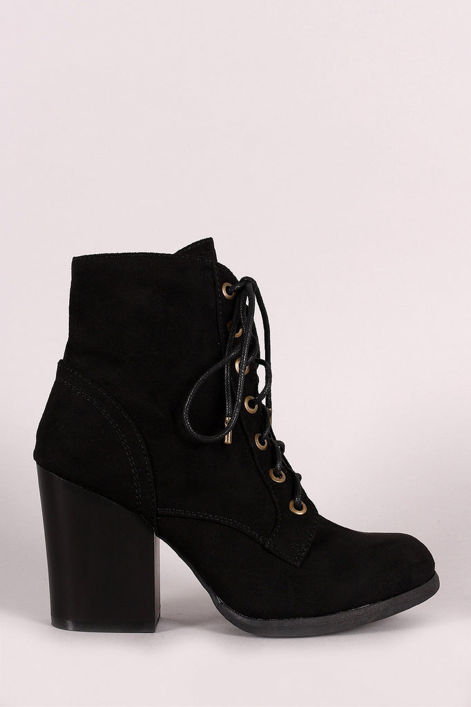 Bamboo Combat Lace-Up Round Toe Booties - JDI Threads