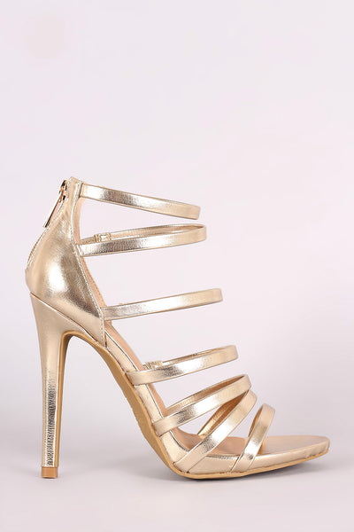 Anne Michelle Metallic Strappy Stiletto Heel - JDI Threads