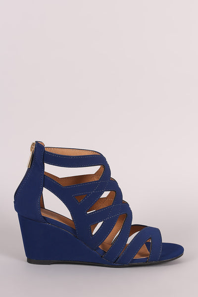 Qupid Caged Open Toe Wedge Sandal