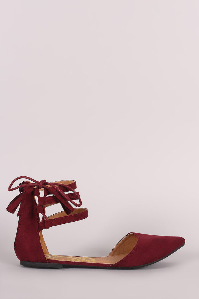 Qupid Suede Triple Ankle Strap Lace-Up Dorsay Flat