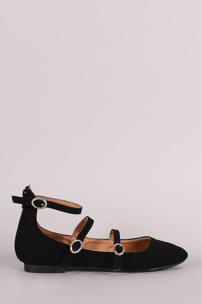 Qupid Nubuck Triple Straps Mary Jane Ballet Flat