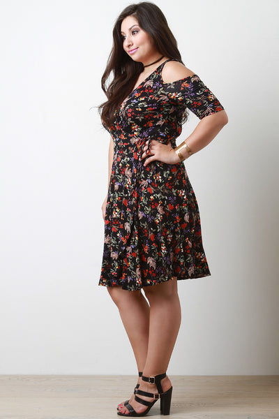 Cold Shoulders Floral Surplice Dress