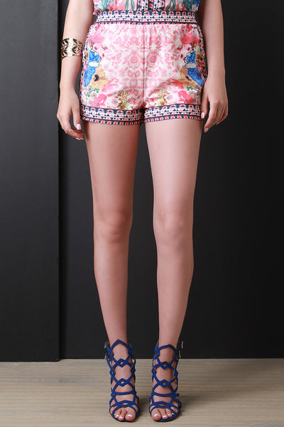 Geo Border Floral Shorts