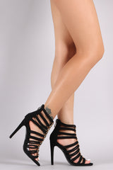 Metallic Hardware Accent Strappy Rope Stiletto Heel