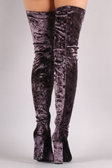 Velvet Pointy Toe Chunky Heeled Over-The-Knee Boots