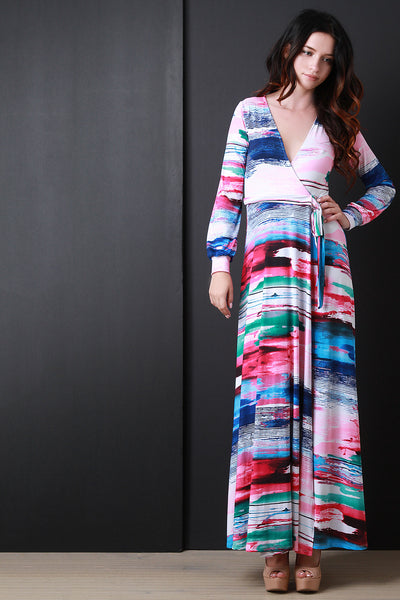 Long Sleeve Printed Wrap Maxi Dress