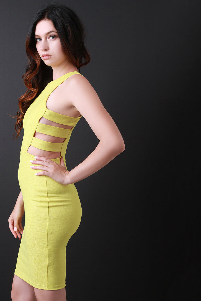 Side Cage Cut Out Bodycon Dress
