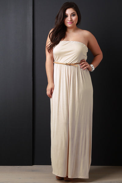Belted Tube Maxi Dress