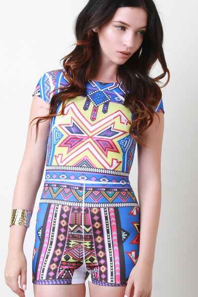 Tribal Print Stretch Romper