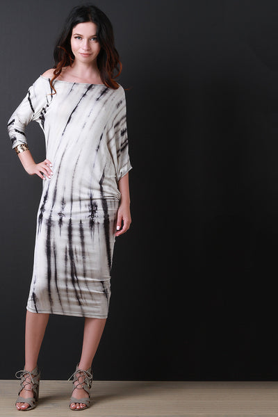 Asymmetrical Drape Tie Dye Midi Dress - JDI Threads