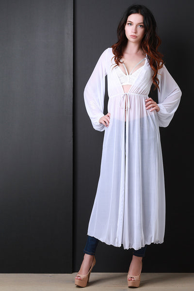 Semi-Sheer Mesh Maxi Cover Up