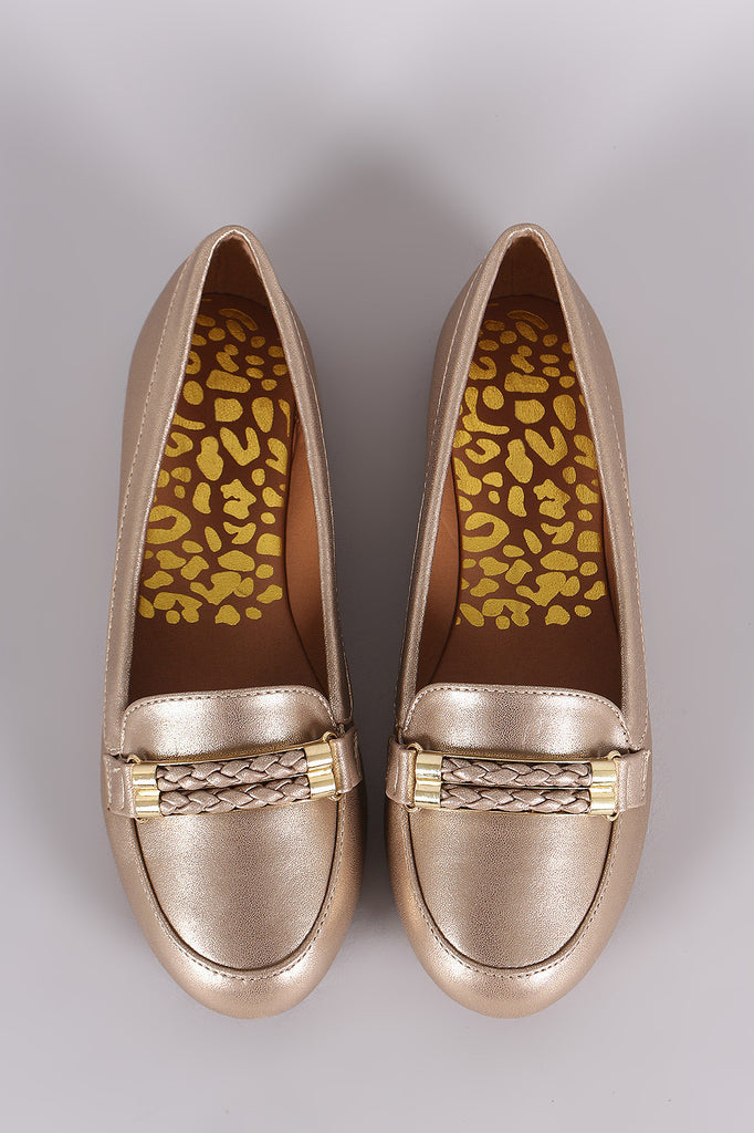 Qupid Metallic Double-Strand Slip-On Loafer Flat