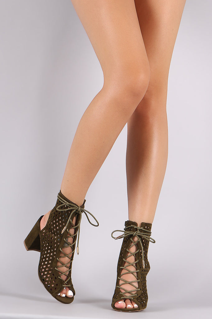 Shoe Republic LA Lace Up Perforated Booties