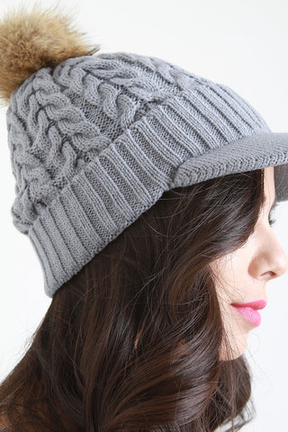 Cable Knit Fur Pom Pom Beanie