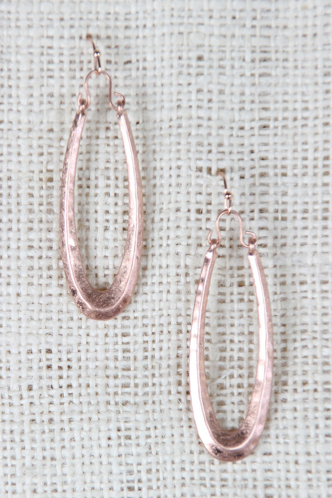 Hammered Oval Dangle Earrings