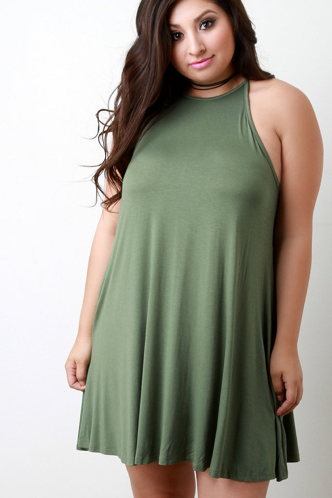 Basic Jersey Knit Sleeveless Shift Dress