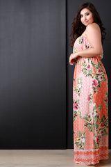 Multipattern Floral Print Empire Waist Maxi Dress