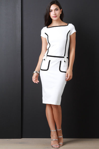 Contrast Piping Ponte Midi Dress