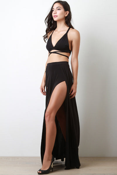 Multi Tie Bralette Two Piece Dress