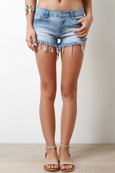 Low Rise Fray Hem Denim Shorts