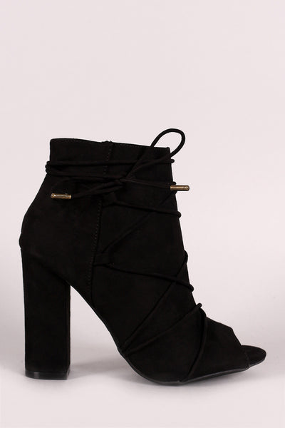 Bamboo Strappy Lace Up Peep Toe Booties