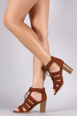 Qupid Woven Braided Caged Chunky Heel