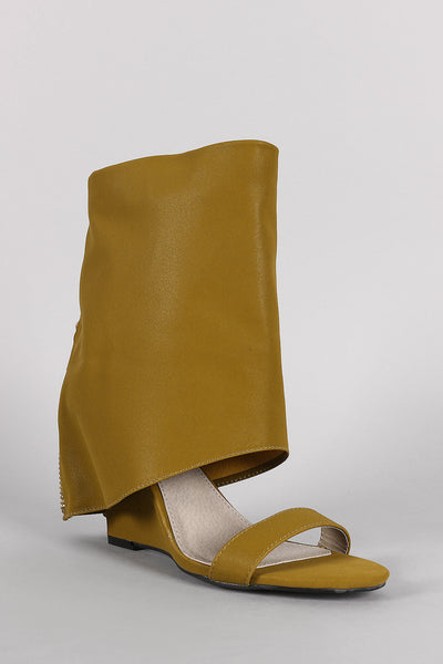 Boot Shaft Open Toe Wedge Heels