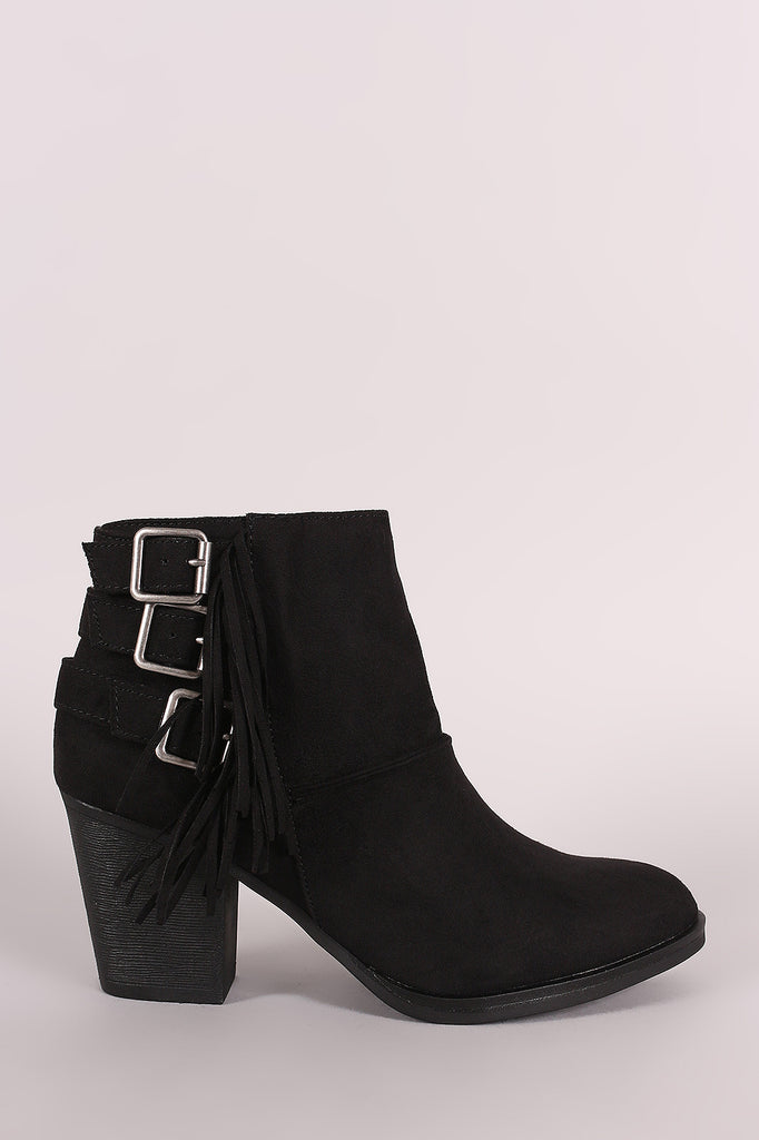 Bamboo Suede Buckled Side Fringe Chunky Heeled Booties
