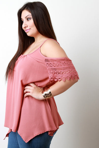 Cold Shoulder Crochet Lace Sleeves Top