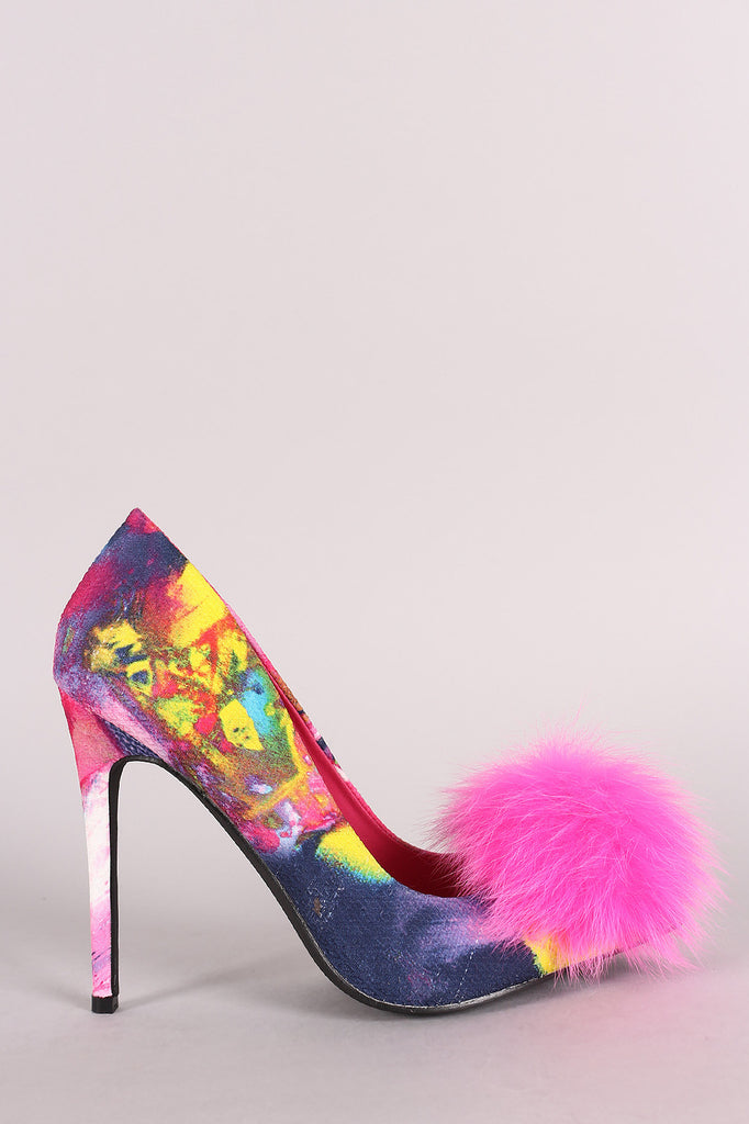 Privileged Pom Pom Watercolor Pointy Toe Stiletto Pump