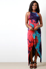 Tie Dye Twisted Knot Asymmetrical Maxi Dress