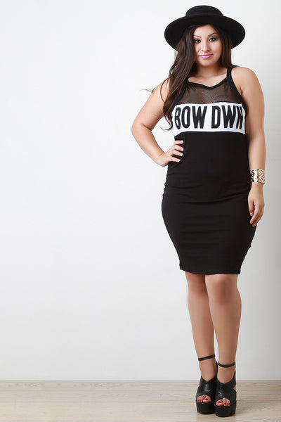 Bow Down Mesh Yoke Bodycon Dress